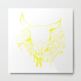 Flower Power Skull Metal Print