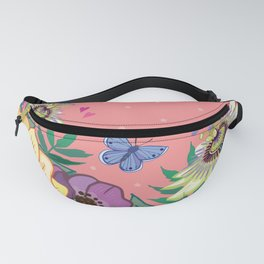 Bright Garden Flowers on Coral Fanny Pack