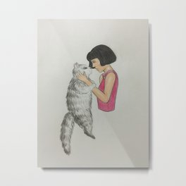 I love you cat Metal Print