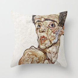 Egon Schiele - Self Portrait With Raised Bare Shoulder Throw Pillow