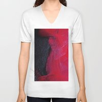 oil V-neck T-shirts featuring Red oil by Margheritta