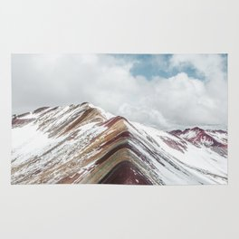 Snow-capped Rainbow Mountain (Montaña de Siete Colores) in the Andes mountains, Peru Rug