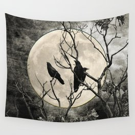 Black White Crows Birds Tree Moon Landscape Home Decor Matted Picture Print A268 Wall Tapestry