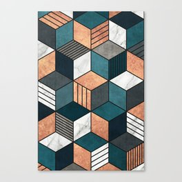 Copper, Marble and Concrete Cubes 2 with Blue Canvas Print