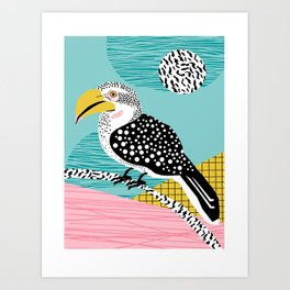 What - memphis tropical retro neon throwback 1980s 80s style hipster abstract bird vacation nature Art Print