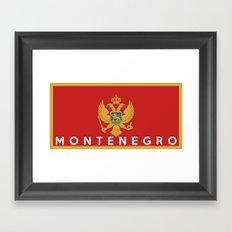 Montenegro country flag name text Framed Art Print