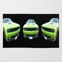 Green Dodge Challenger Rug