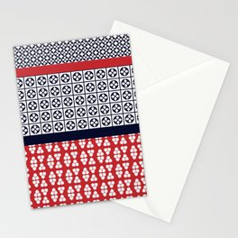 Japanese Style Ethnic Quilt Blue and Red Stationery Cards