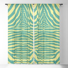 Zebra Pelt in green and yellow Sheer Curtain