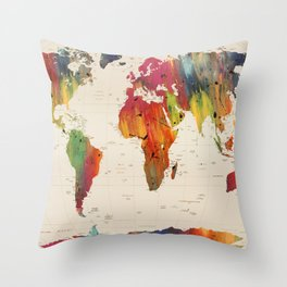 ALLOVER THE WORLD-Painted map Throw Pillow