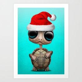 Christmas Turtle Wearing a Santa Hat Art Print