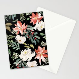 Christmas Poinsettias & White Roses Pattern Stationery Cards