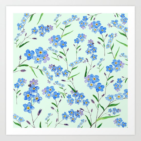 forget me not in green background Art Print