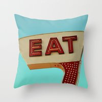 eat Throw Pillows featuring Eat by bomobob