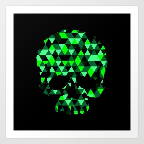 Triangle Camouflage Skull (BLACK) Art Print