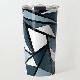 Geometric pattern in grey and white tones . Travel Mug