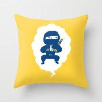 ninja Throw Pillows featuring Ninja by taichi_k