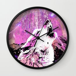 WOLF PINK MOON SHOOTING STARS Wall Clock