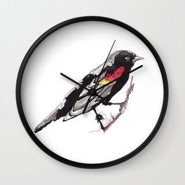 Red Winged Black Bird Wall Clock
