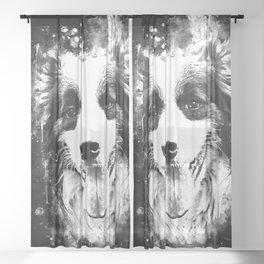 border collie shepherd dog splatter watercolor white Sheer Curtain