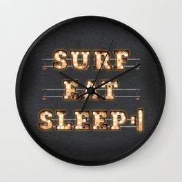Surf Eat Sleep Repeat Wall Clock