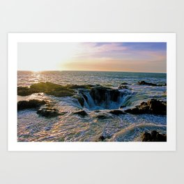 Sunset at Thor's Well Art Print