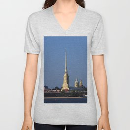 The spire of the Peter and Paul Cathedral and the embankment of the Peter and Paul Fortress Unisex V-Neck