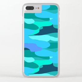 Sky Blue and Forest Green Camo Pattern Clear iPhone Case
