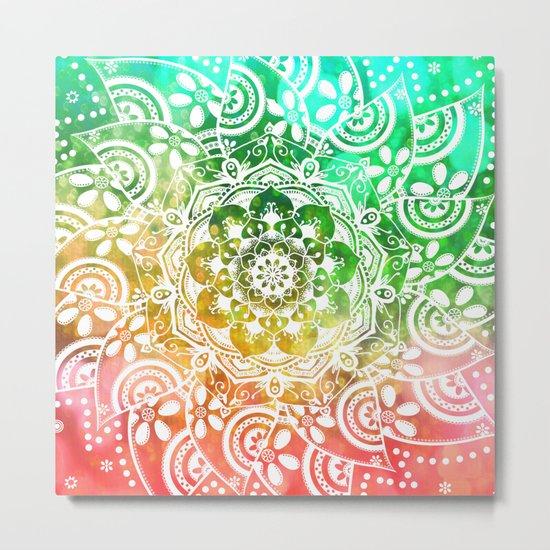 'Tropical Soul' Blue Green Yellow Pink Mandala Metal Print
