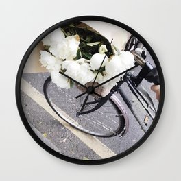 Bike and flowers Wall Clock