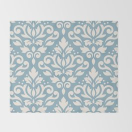 Scroll Damask Large Pattern Cream on Blue Throw Blanket