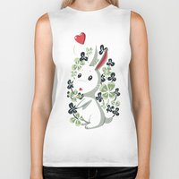 clover Biker Tanks featuring Clover Bunny by Freeminds