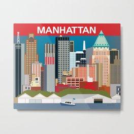 Manhattan, New York - Skyline Illustration by Loose Petals Metal Print