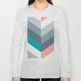 Vertical Chevron Pattern - Teal, Coral and Dusty Blues #geometry #minimalart #society6 Long Sleeve T-shirt