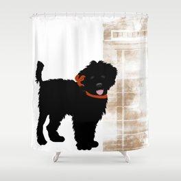 Black Labradoodle dog Shower Curtain