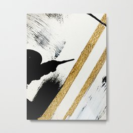 Armor [8]: a minimal abstract piece in black white and gold by Alyssa Hamilton Art Metal Print