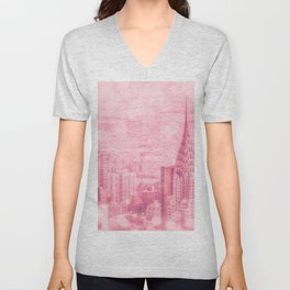 Pink and Bubbly New York City Unisex V-Neck