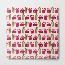 Colorful Christmas Presents Pattern Metal Print