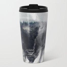 Bison In Mist Metal Travel Mug