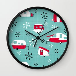 Red Campers on Aqua Wall Clock
