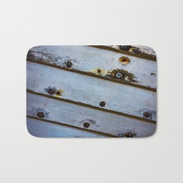 Old White Wooden Boat Bath Mat