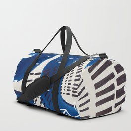 Fun Mid Century Modern Abstract Minimalist Vintage Navy Blue Brush Strokes Minimal Shapes Duffle Bag