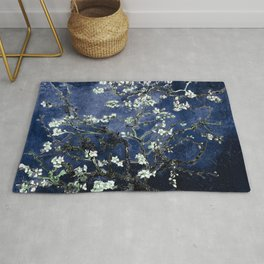Vincent Van Gogh Almond Blossoms Dark Blue Rug
