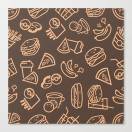 Fast-food pattern Canvas Print