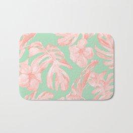 Tropical Palm Leaves Hibiscus Pink Mint Green Bath Mat