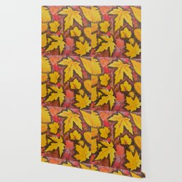 Autumn Leafs Red Yellow Brown Fall pattern based on the acrylic painting Wallpaper
