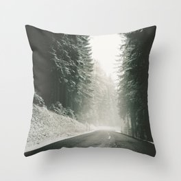Forest Road In Winter Throw Pillow