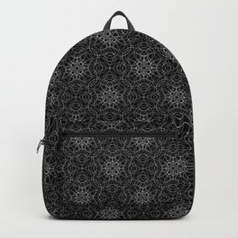 delicate lace - white on black Backpack