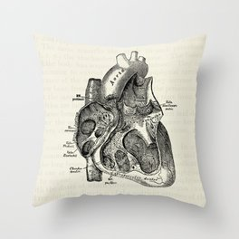 Vintage Anatomy Heart Medical Illustration Throw Pillow