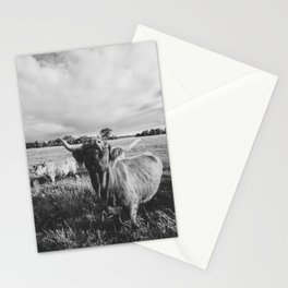 Black and White Highland Cow - Moo Stationery Cards